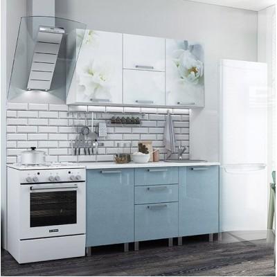 """Кухня """"Бьянка"""" 1,5 м, голубые блестки"""