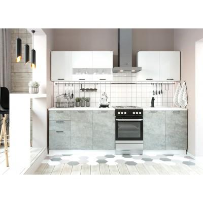 "Кухня ""Дуся"" 2 метра Белый брилиант/Цемент"