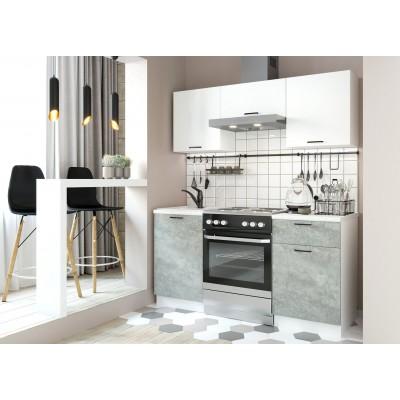 "Кухня ""Дуся"" 1,6 м Белый брилиант/Цемент"