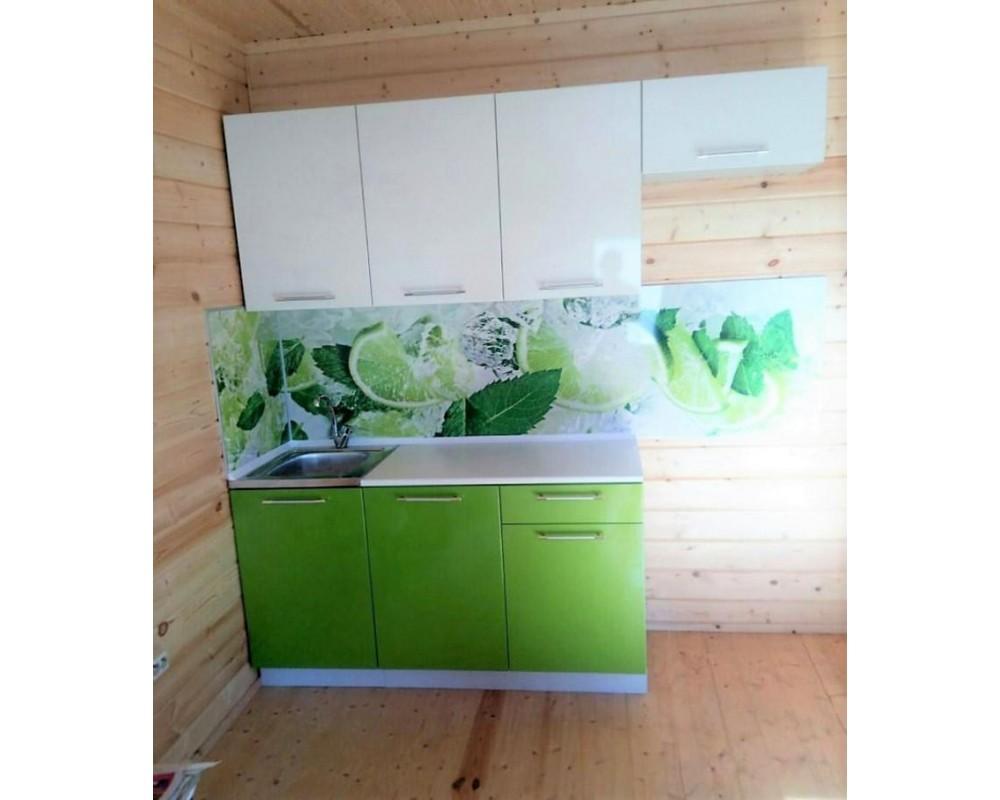 """Кухня """"Олива"""" Белый металлик/Зелёный металлик №8"""