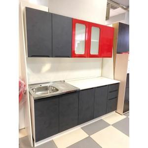 """Кухня """"Катя-1"""" 2м Красный глянец/Бетон графит"""
