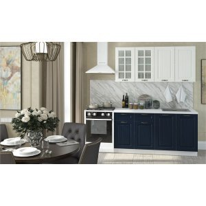 """Кухня """"Мария-1-1 180 см синий+белый"""""""
