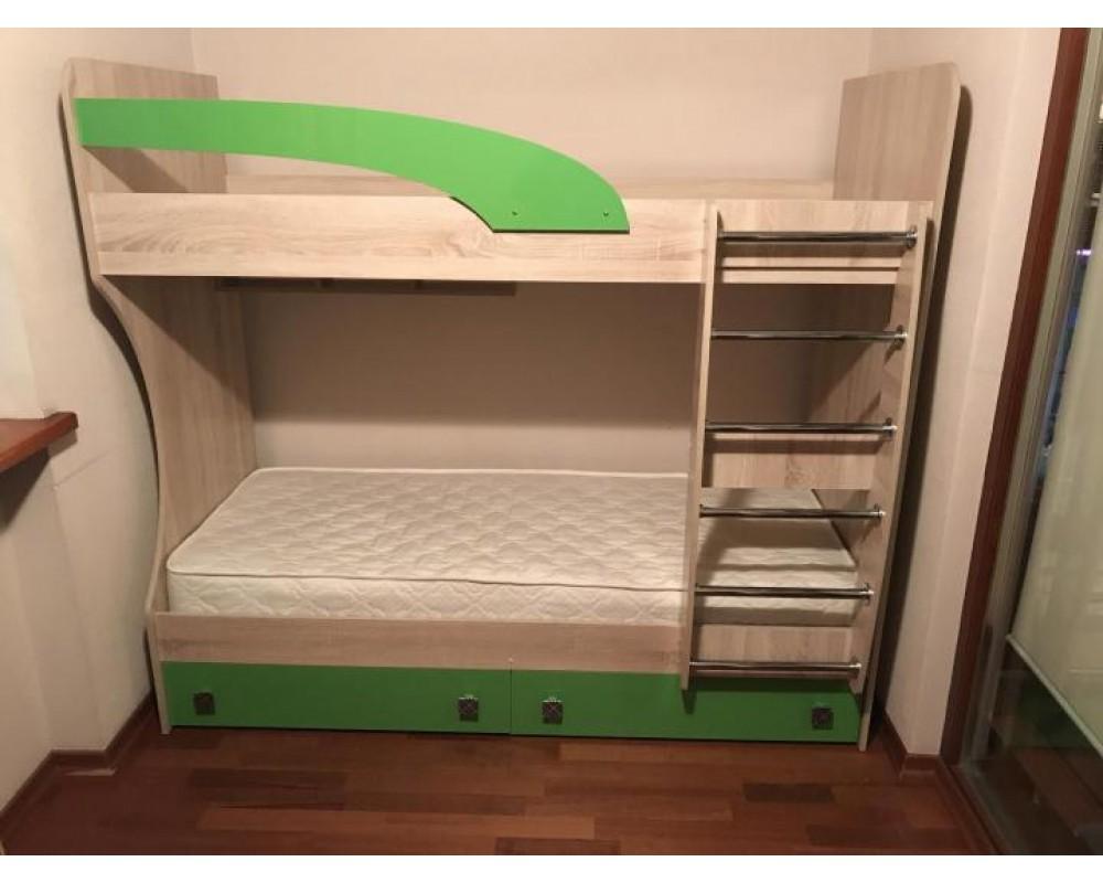 """Детская двухъярусная кровать """"Колибри"""" Дуб сонома/Виола"""
