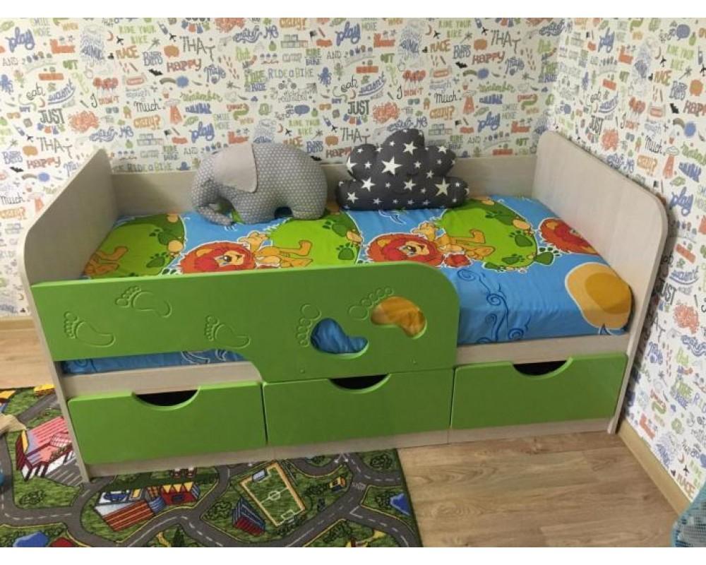 """Детская кровать """"Минима Лего"""" 163 см Дуб атланта/Лайм глянец"""