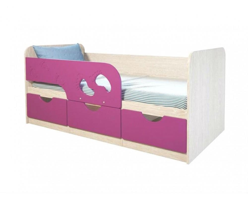 """Детская кровать """"Минима Лего"""" 163 см Дуб атланта/Лиловый сад"""