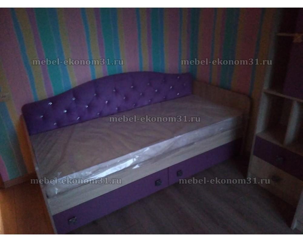 """Детская кровать """"Колибри"""" с ящиками (Велюр сирень со стразами)"""