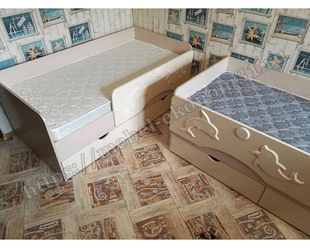 """Детская кровать """"Алиса КР-811"""" Дуб Белфорт/Голубой металлик"""