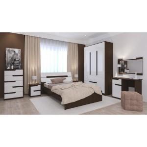 """Спальня """"Гавана"""" Композиция №2 Белый акрил/Венге"""