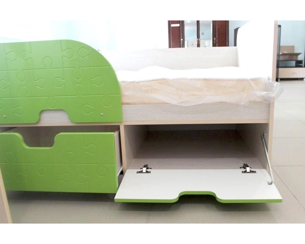 """Детская кровать """"Минима"""" Дуб атланта/Лайм глянец"""