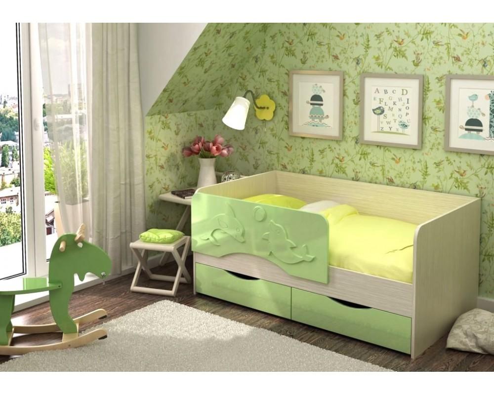 """Детская кровать """"Алиса КР-813"""" Дуб Белфорт/Зелёный металлик"""