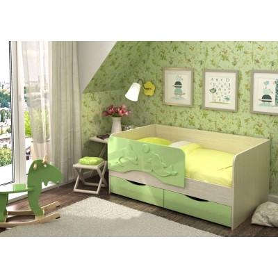 """Детская кровать """"Алиса КР-811"""" Дуб Белфорт/Зелёный металлик"""
