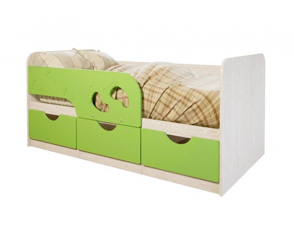 """Детская кровать """"Минима Лего"""" 186 см Дуб атланта/Лайм глянец"""