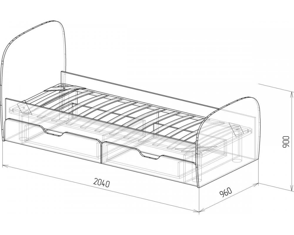 """Кровать №13 """"Скай"""" с ящиками и основанием Белый глянец"""