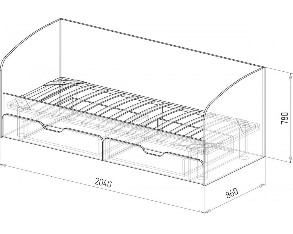 """Кровать №14 """"Скай"""" с ящиками и основанием Белый глянец"""