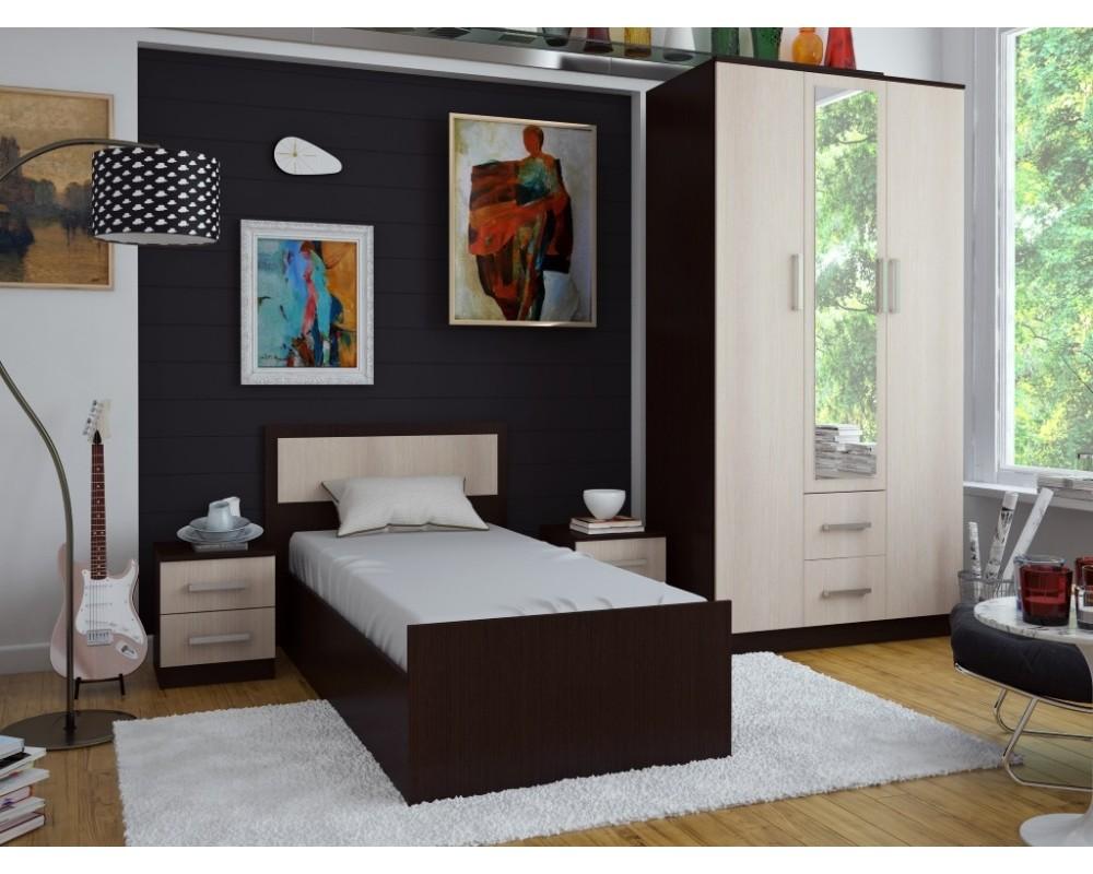 """Кровать """"Фиеста"""" 1,2 м Ясень тёмный/светлый без матраса"""