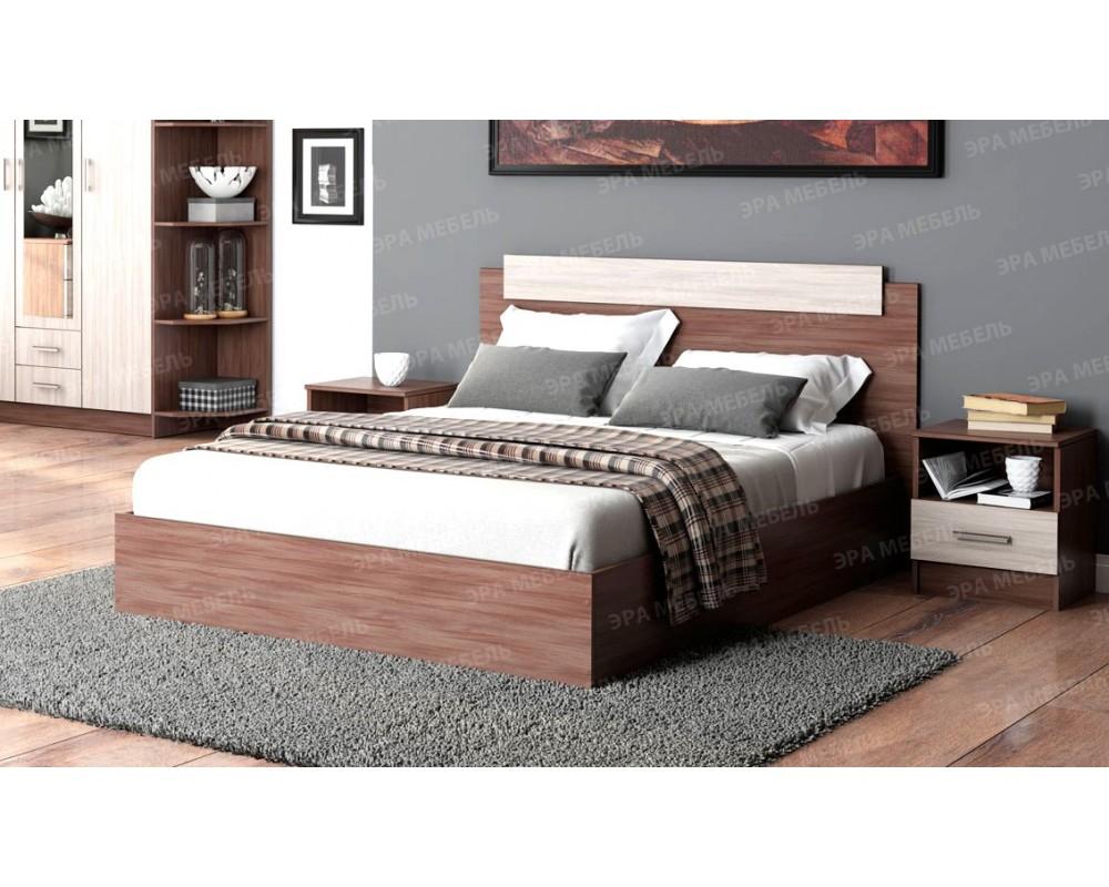 """Кровать """"Эко"""" 1.4 м Ясень шимо тёмный/светлый"""