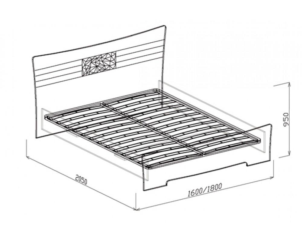 """Кровать №1 """"Атлантида"""" 1,6м (с основанием)"""