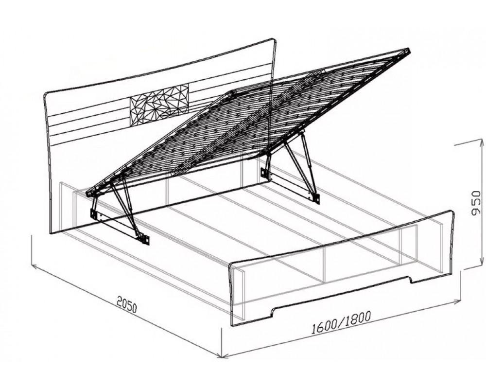 """Кровать №1 """"Роберта"""" 1.4м (подъемная с основанием)"""