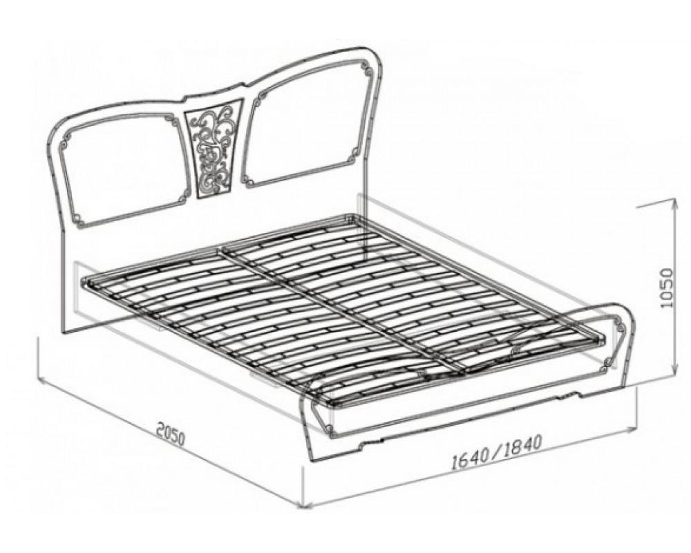"""Кровать №1 """"Тиффани"""" 1.6м (с основанием)"""