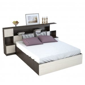 """Кровать с закроватным модулем и тумбами """"Бася КР-552"""" с матрасом"""