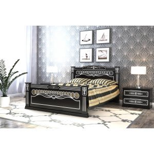 """Кровать """"Царица"""", 1,6 м Черный/серебро"""