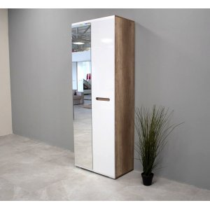 "Шкаф 2-х створчатый с зеркалом ""Наоми ШК-22"" Белый глянец/Дуб каньон"