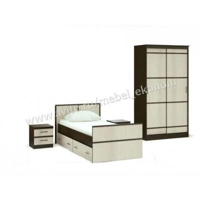 """Спальня """"Кровать с ящиками 90+Шкаф купе 114 см+тумбы"""""""
